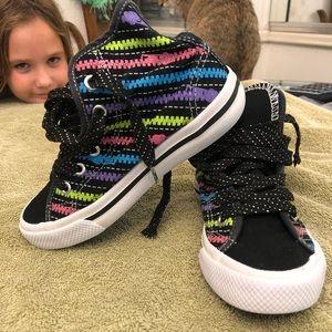 Multi color converse style shoes
